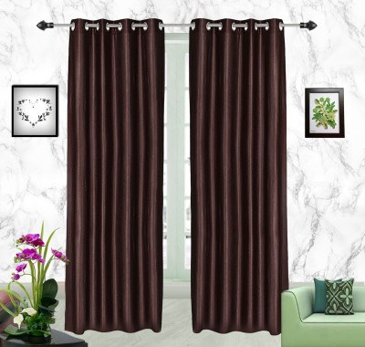 Comfort Zone Polyester Brown Solid Eyelet Long Door Curtain