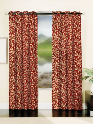 Mahamantra Polyester Red Solid Eyelet Window Curtain