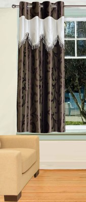 Trendy Home Polyester Brown Printed Eyelet Window Curtain