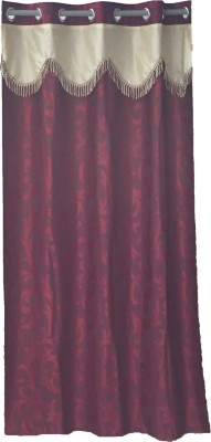 Ajratex Polyester Maroon, Yellow Floral Eyelet Door Curtain
