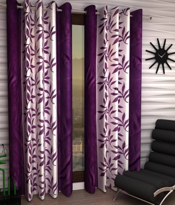 Panipat Textile Hub Polyester Purple Floral Eyelet Long Door Curtain