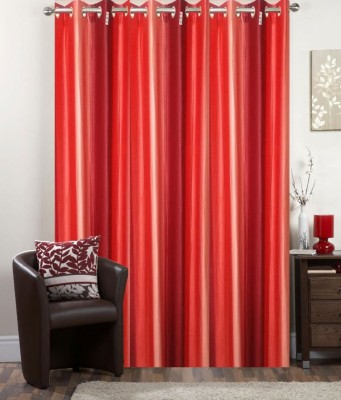 I-LivSmart Polyester Royal Pink / Red Floral Curtain Door Curtain