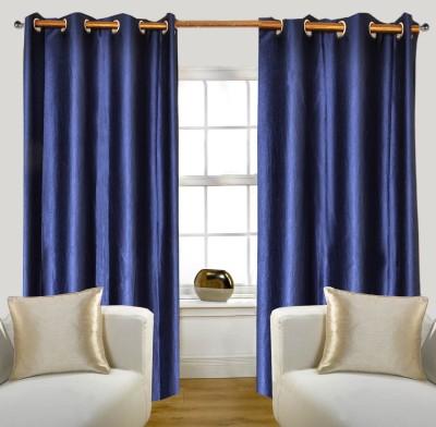 Glamora Interiors Polyester Dark Blue Plain Curtain Window & Door Curtain