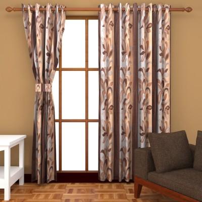 Kanha Polyester Brown Floral Eyelet Window Curtain