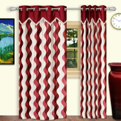 Dreaming Cotton Polyester Maroon Geometric Eyelet Door Curtain