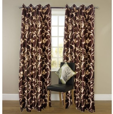 Attractivehomes Polyester Multicolor Abstract Eyelet Door Curtain