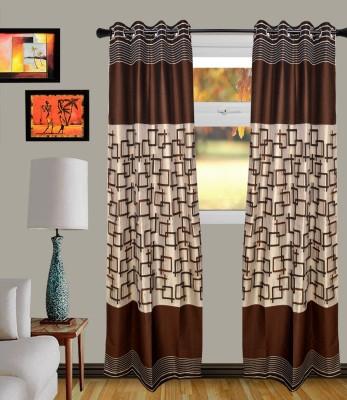 MF Blends Coffee Geometric Eyelet Window Curtain
