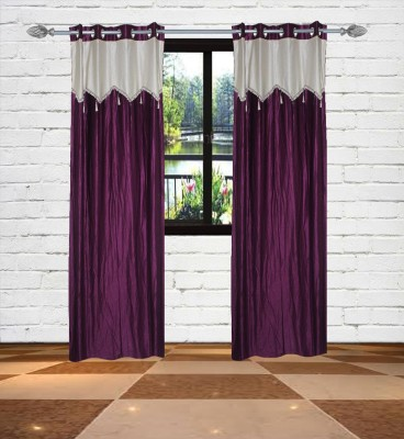 Gaurav Curtains Polyester Purple Floral Eyelet Long Door Curtain