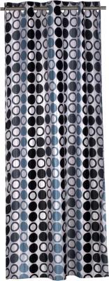 Trendy Home Polyester Black Geometric Eyelet Door Curtain
