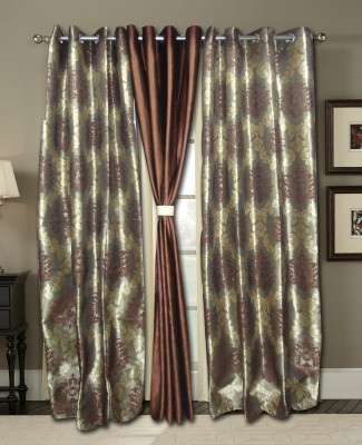 Zigma Collections Polyester Brown Embroidered Eyelet Door Curtain