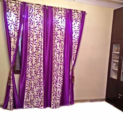 SHC Polyester Purple Floral Eyelet Door Curtain