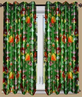 Curtains By Maya Designs Blends Green Cartoon Eyelet Window Curtain