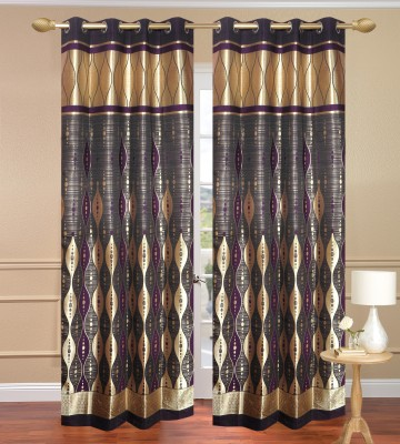 Daddyhomes Polyester Gold Solid Eyelet Door Curtain