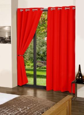 Lushomes Cotton Tomato Plain Eyelet Door Curtain