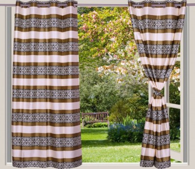 Desire Polyester Gold Striped Eyelet Long Door Curtain