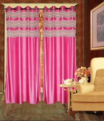Madhav Product Polyester Pink Solid Eyelet Door Curtain