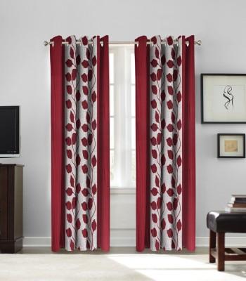 fflaunt Polyester Maroon Printed Eyelet Door Curtain