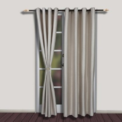 Harry Tex Polyester Silver Solid Eyelet Door Curtain