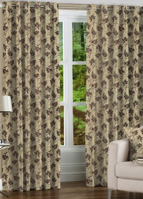 NuHome Decor Polyester Coffee Self Design Eyelet Door Curtain
