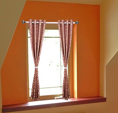 OsianArts Maroon Self Design Eyelet Door Curtain