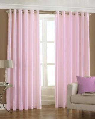 The Decor Hub Polyester Baby Pink Plain Eyelet Window Curtain