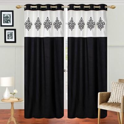 Abhi Décor Polyester Black Embroidered Curtain Door Curtain