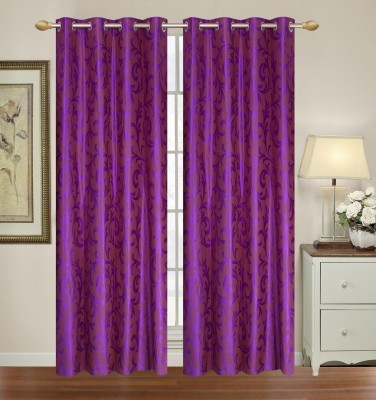 Yellow Weaves Polyester Purple Floral Eyelet Door Curtain