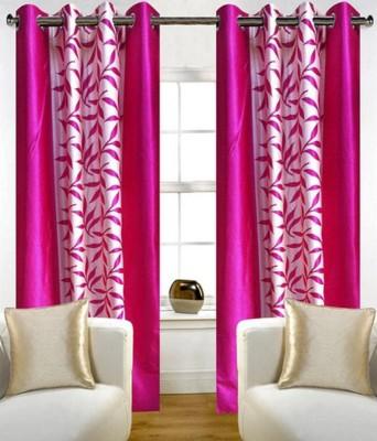White Wave Polyester Printed Pink Printed Eyelet Long Door Curtain
