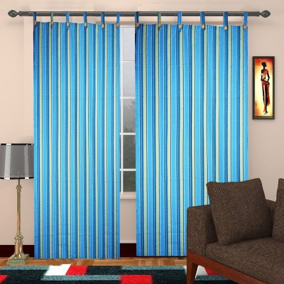 TG Shoppers Cotton Blue, Yellow Striped Curtain Door Curtain