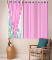 Zesture Polyester Pink Solid Eyelet Window Curtain(147 cm in Height, Pack of 3)
