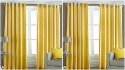 BSB Trendz Polyester Yellow Plain Eyelet Window Curtain