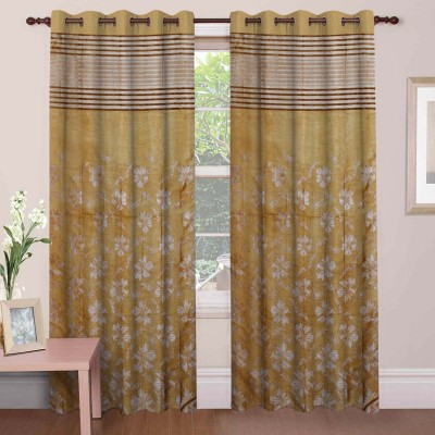 Mdf Curtains Polycotton Gold Floral Eyelet Door Curtain