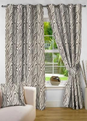NuHome Decor Polyester Brown Geometric Eyelet Long Door Curtain