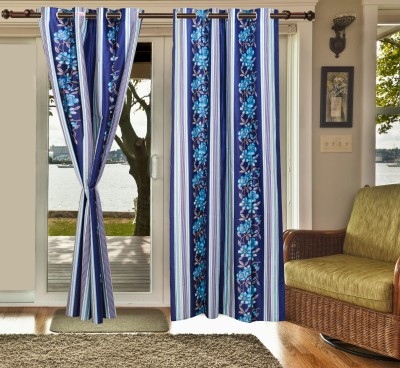 sachidanand solutions Polyester Blue Floral Eyelet Window & Door Curtain