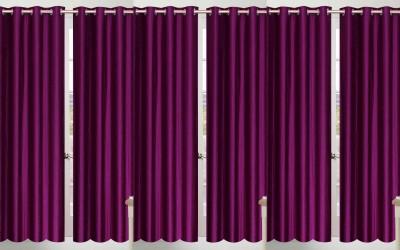 Shopgalore Polyester Purple Plain Eyelet Door Curtain