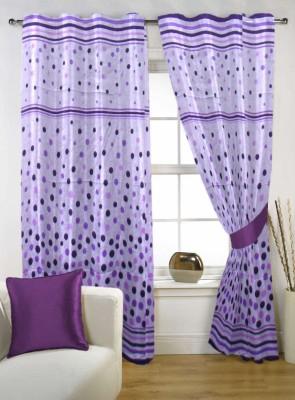 Kings Polycotton Purple Geometric Tab Top Door Curtain