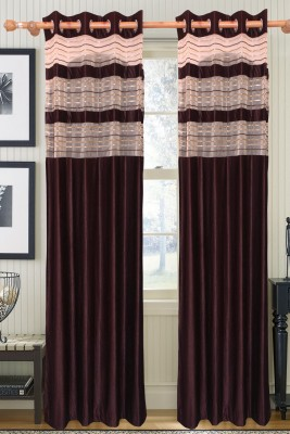 Furnishing Kingdom Polyester Brown Abstract Eyelet Door Curtain