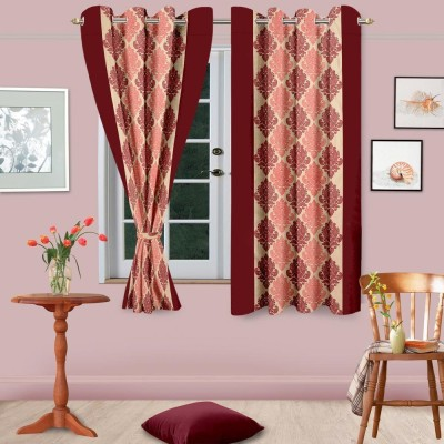 Home Fashion Gallery Polyester Brown Abstract Eyelet Long Door Curtain