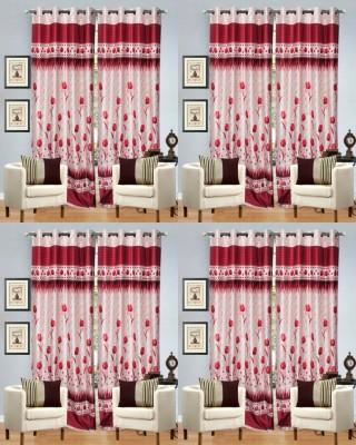 Decor Vatika Polyester Maroon Abstract Eyelet Door Curtain