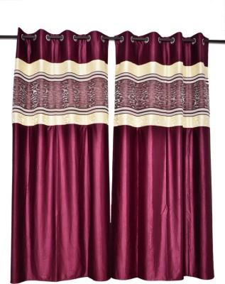 Tip Top Decor Polyester Green Solid Rod pocket Door Curtain