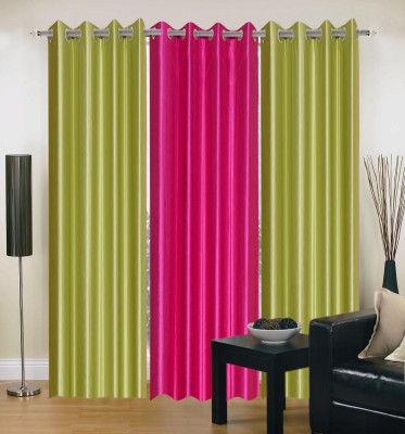 Home And Craft Polyester Green Plain Eyelet Door Curtain