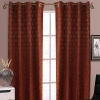 Wraps N Drapz Cotton Orange, Beige Polka Eyelet Door Curtain(84 inch in Height, Single Curtain)