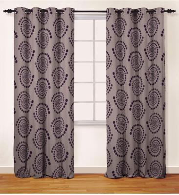 Oro Decor Polyester Purple Geometric Eyelet Long Door Curtain