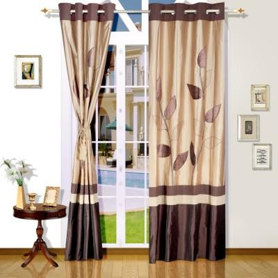 Eyda Polyester Natural Abstract Eyelet Long Door Curtain