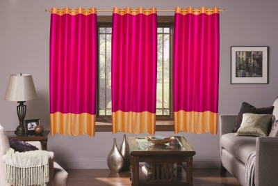 Batham Sales Blends Majenta Plain Eyelet Window Curtain