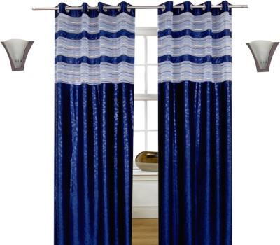 Shopcrats Polycotton Blue Floral Curtain Window & Door Curtain