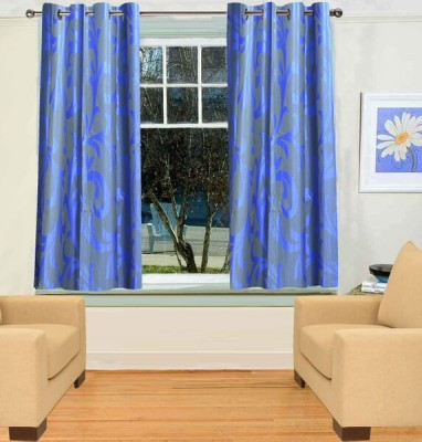 TT Blue Motif Eyelet Window Curtain