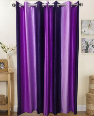 K Gallery Polyester Purple Striped Eyelet Long Door Curtain