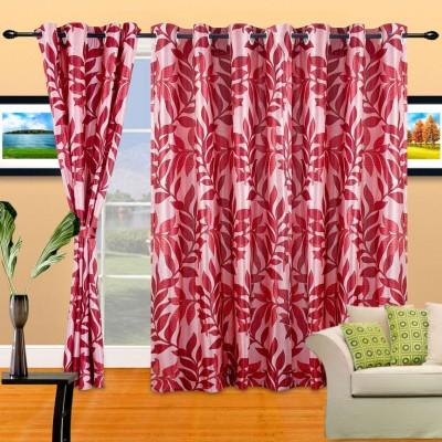 Cortina Polyester Pink Floral Eyelet Door Curtain