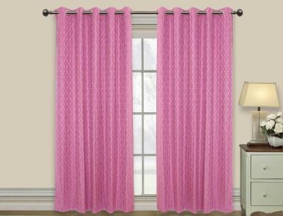 Elan Cotton Purple Motif Eyelet Door Curtain